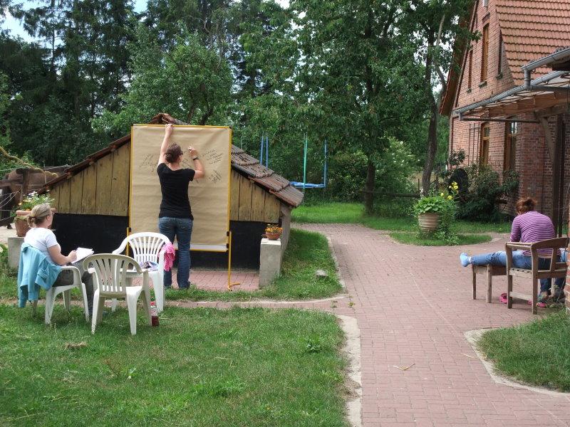Kleingruppenarbeit zu verschiedenen Themen ist ein wichtiger Teil der Zusatzausbildung Heilpädagogisches Arbeiten mit Pferden / Heilpädagogisches Reiten.